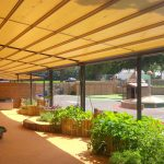 How do awnings benefit kinder gardens and schools?