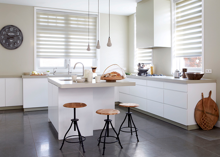 Blinds sheer shades in kitchen