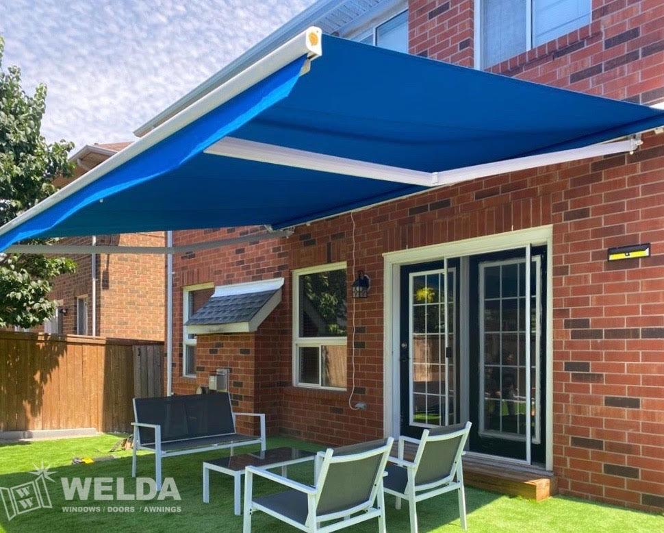 blue patio awning